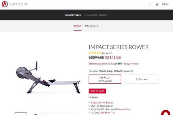 Shopping at Aviron's website and price of rower
